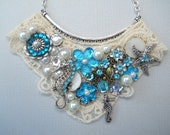 Sea Collage bib necklace, White, Silver, Blue, Seahorse, starfish, assemblage, Victorian, Shabby Chic, Steampunk, Vintage, Lace, Romantic