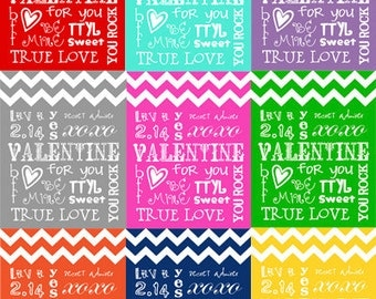 Valentine's Day PRINTABLE Cards Subway Art Chevron Instant Download 9 Colors