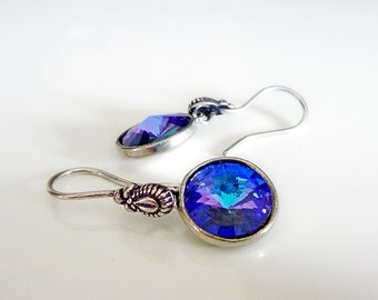 Swarovski Earrings in Heliotrope Blue with Antiqued Silver