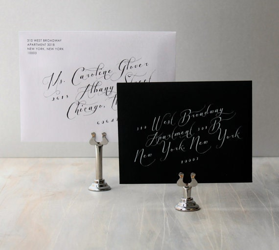 Calligraphy Envelope Addressing In White Ink, Digital Envelope Return and Guest Printing From Beacon Lane