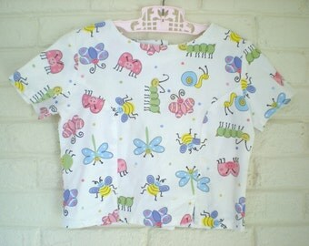 1980s Girl's Bugs and Butterflies Shirt, Size 5-6