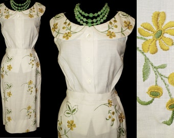 Vintage 1950s Dress . Suit Embroidered  NOS Couture New Look Femme Fatale Garden Party Mad Man Cocktail Hourglass Rockabilly Wiggle