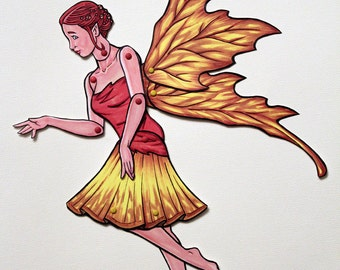 Woodland Fairy Articulated  Paper Doll  - Fantasy Forest Faerie