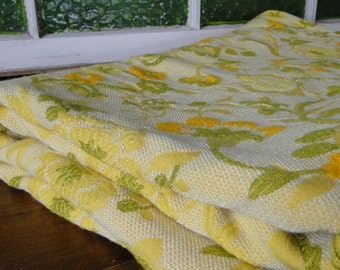 Heavy-Weight Yellow, Green and Orange Floral Vintage Fabric - One Yard