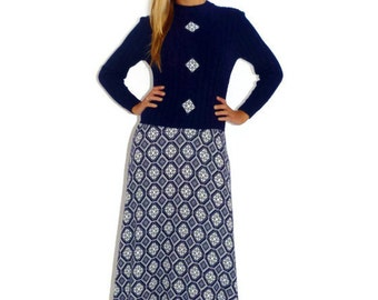 Vintage 60s Navy Blue and White Sweater Dress Long Sleeved Winter Modest Maxi Dress, Size Small-Medium