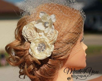 Ivory Birdcage Veil-Cream Bridal Fascinator-Wedding Headpiece-Ivory or White Available