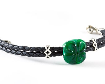 Lucky four-lead clover glass leather bracelet with sterling silver