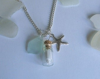 Vial Neckalce - Message in a bottle necklace - Personalized message. Sea glass jewelry. Custom necklace,