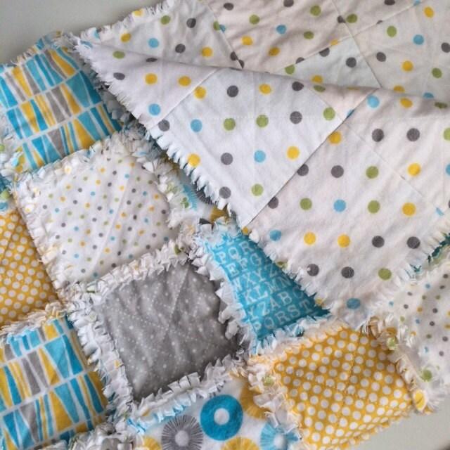 Rag Baby Quilt: ABC Baby Blanket Rag Quilt Crib Bedding