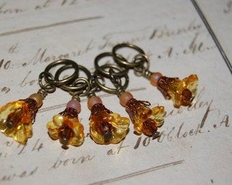 Amber Art Nouveau Steampunk Stitch Markers