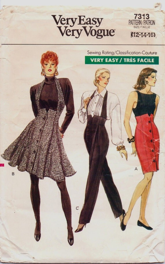 1980s Very Easy Very Vogue Pattern 7313 Womens High Waisted Skirt & Pants Size 12 Hip 36