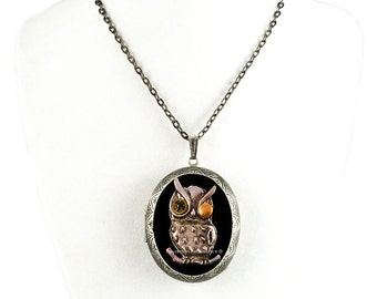 Robot Owl Pill Box Necklace Inlaid in Hand Painted Glossy Black Onyx Enamel Sci Fi Locket with Personalized and Color Options