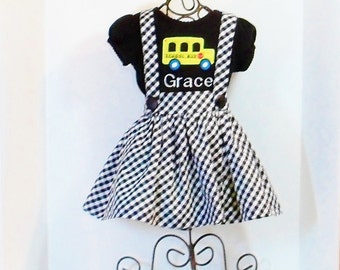 GIRLS SCHOOL DRESS Preppy Jumper Size 12mo to 8 Pinafore Monogram Fall School Clothes