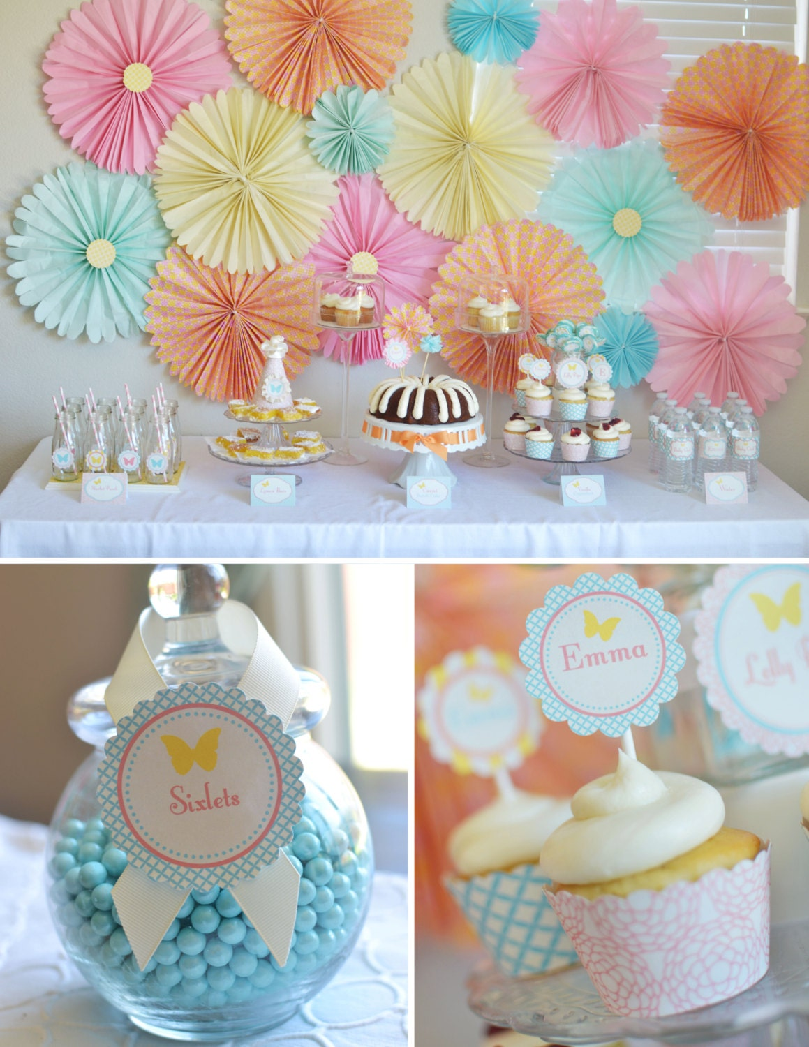 Butterfly garden tea party diy printables collection for 1st birthday girl decoration