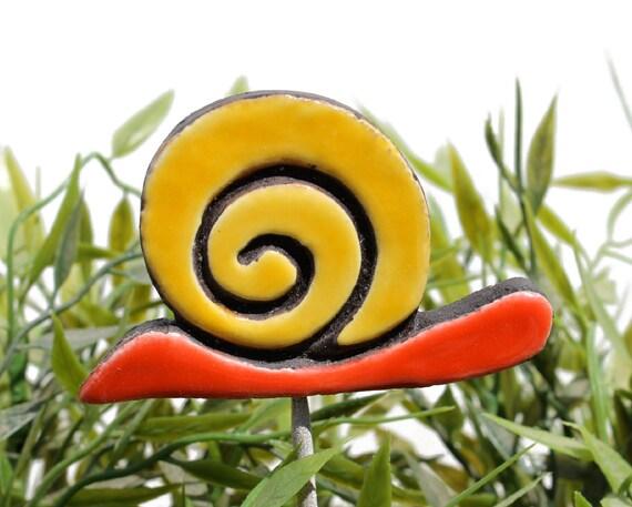 Snail garden art - plant stake - garden decor - snail ornament  - ceramic snail - large - red-yellow