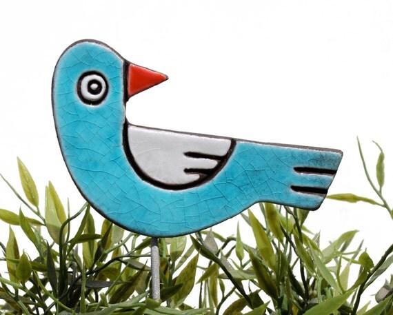 bird garden art - plant stake - garden marker - garden decor - bird ornament - ceramic bird - turquoise & white