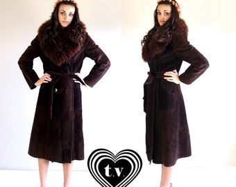 vtg 60s cocoa brown SHEARLING real fur HIPPIE COAT Small suede leather belted boho outerwear