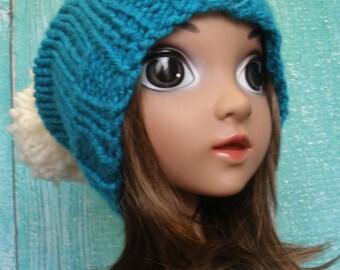Knit Slouchy Hat Beanie Winter Kids Turquoise Teal & Cream Ski Snowboarding With Big Pom Pom