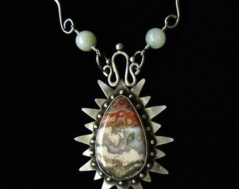 SOLD Handmade cabochon  necklace of ocean jasper and sterling silver