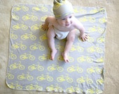 Bike Hat and Blanket - Organic Baby Swaddler Blanket and Matching Hat on Gray Background- You Choose Bike Color Eco Friendly