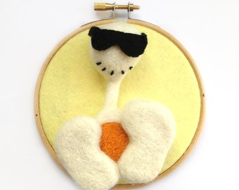 Sunny Pheeple Art - Needle Felted White and Yellow Pheeple Character, Wall Art Embroidery Hoop With Sunglasses