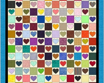 "Heart Match Quilt Pattern (84"" x 90"") by Curlicue Creations"