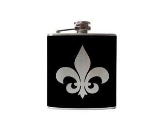 Fleur De Lis Flask- alcohol, liquor, booze, wedding, bridal party, hip pocket- Personalized Custom - YOU pick COLOR, SIZE