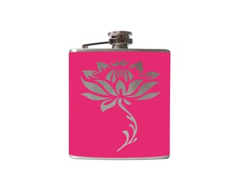 lotus Flower FLASK- alcohol, liquor, booze, wedding, bridal party, hip pocket- Personalized Custom - YOU pick COLOR