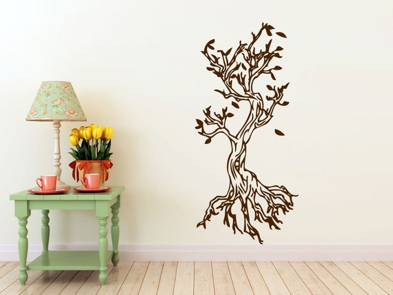 tree, roots, leaves, vinyl Wall DECAL- interior design, sticker art, room, home and business decor
