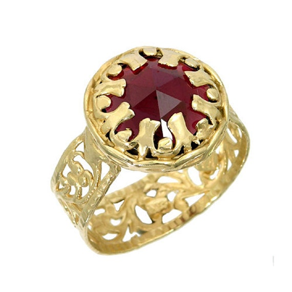 garnet ring gold ring lace gold ring lace ring garnet gold