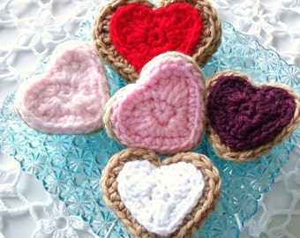 Crocheted Valentine Heart Cookies Decoration   Set of 5