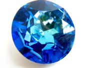 BERMUDA BLUE - Large Bright Tropical Ocean Blue Round Chaton Rose Cut Shape Crystal - 28mm Jewelry Supplies