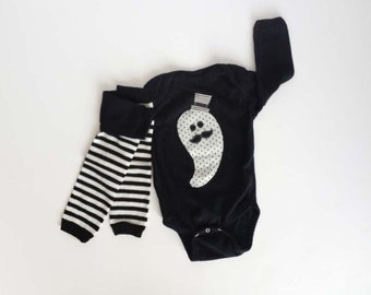 Halloween One Piece Mustache Ghost with Top Hat One One Piece with Striped Baby Leg Warmers