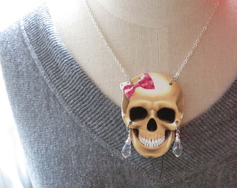 Halloween Skull Necklace with Pink Ribbon and Crystal Earrings Geekery