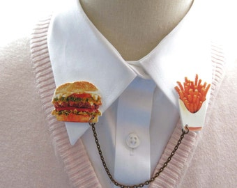 Burgers and Fries Food Lover Geekery Quirky Double Brooch Pin Clip