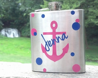 Bridesmaid flask, 6 ounce, stainless steel personalized flask.  Bridesmaid and Maid of honor gift.  Nautical bachelorette anchor, polka dots