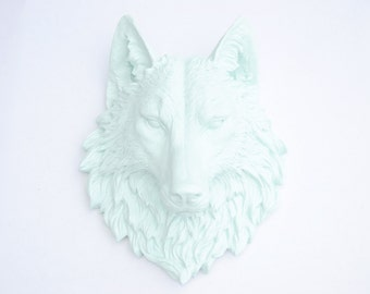 Sea Foam Green Wolf Head Wall Mount - Faux Taxidermy W51
