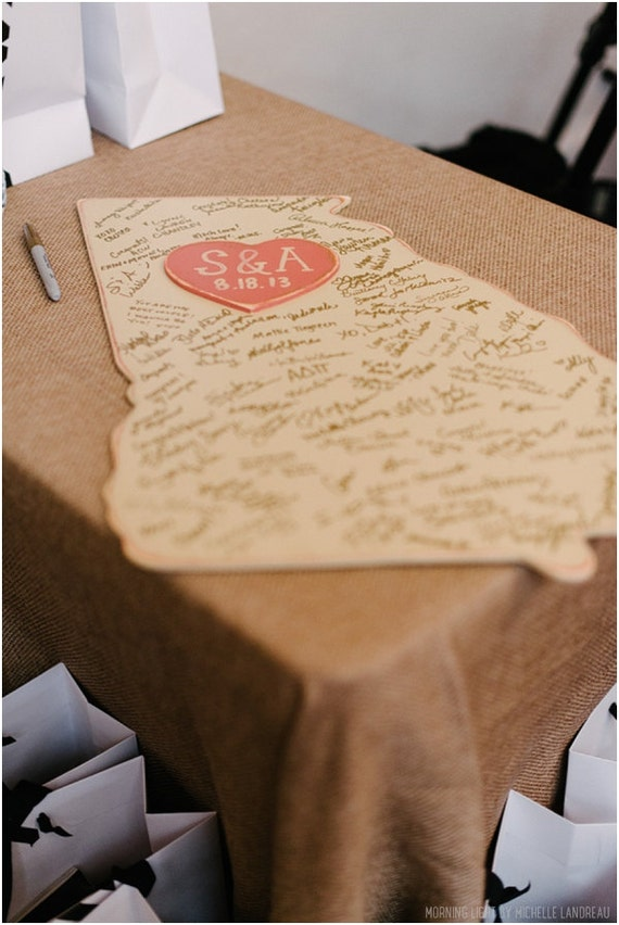 Custom Wooden State Wedding Guestbook - 2 ft Georgia, Distressed Ivory - any state/country available - many colors
