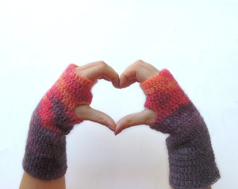 Fingerless mittens, Fingerless mittens,  fingerless gloves, Crochet fingerless glove, arm warmers, purple fingerless gloves,christmas gift