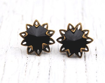 Black Flower Earrings Swarovski Crystal Black Filigree Flower Earrings Vintage Saffron Sparklers