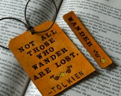 Leather Luggage & Tag Bookmark SET - J R R Tolkien Quote - Lord of the Rings LOTR - Not All Those Who Wander Are Lost - Tan Leather bookmark