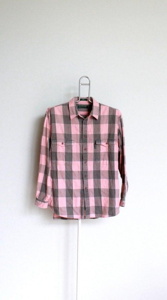 Vintage levis buffalo plaid flannel shirt mens size extra for Grey plaid shirt womens