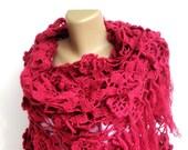 Wife Gift, Anniversary Gift, Mothers Scarf ,fushia Crochet Shawl / Bridal Shawl / Women Accessories / Wedding Shawl / Bridal Shrug / Wedding