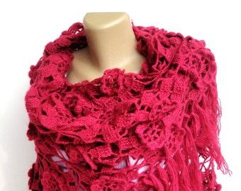 fushia Crochet Shawl / Bridal Shawl / Wedding Shawl / Bridal Shrug / Winter Wedding / Bridal Bolero / Bridal Cover Up / Winter Accessories