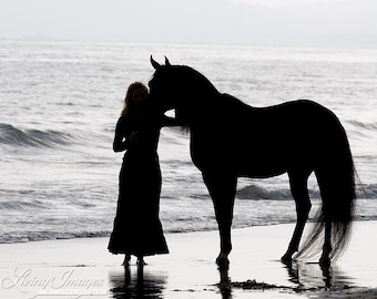A Girl and Her Horse - Fine Art Horse Photograph - Horse - Black and White - Fine Art Print