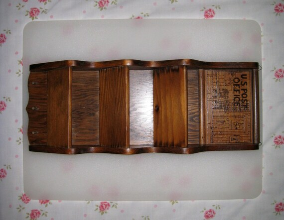 Vintage solid wood 3 pocket wall mount letter by cookiegrandma60 - Wooden letter holder wall mount ...