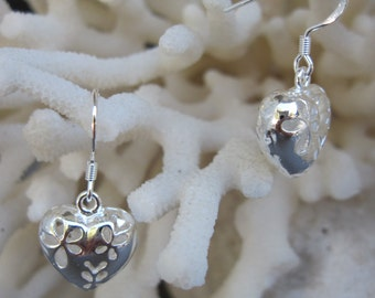Floral Cut Out Sterling Silver Puffed Heart Earrings