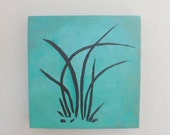 Painting of Orchid leaves, Sumi painting, Black on blue green