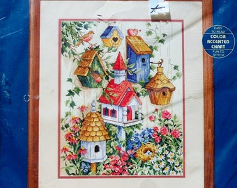 Rare Ann Craig Watercolor BIRDHOUSE GARDEN By Sunset - Counted Cross Stitch Kit