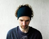 Knitted Mens Headband Guys knit hair wrap - Petrol green Unisex Adults Dread band gift for him